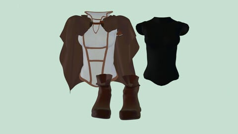 Set medieval fantasy light armor PBR low-poly game-ready Low-poly 3D model
