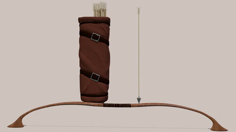 Set of bow quiver and arrows PBR 3D model