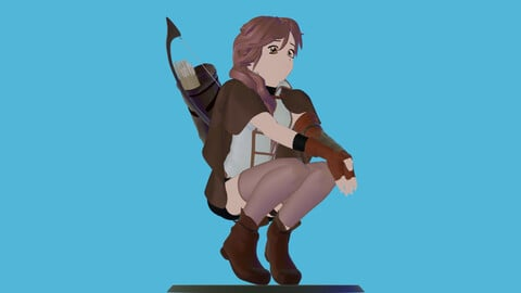 Anime character archer PBR 3d printing-ready game-ready 3D model