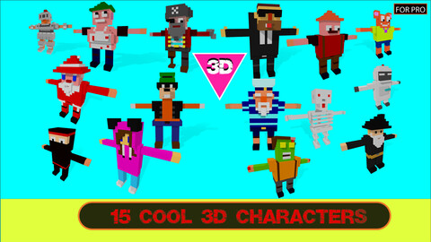 3d Model Characters voxel pack