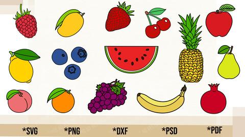 Fruits Bundle SVG, Fruits Bundle Cricut Cut File, Fruits Bundle PNG Printable, pdf, dxf, Fruits Bundle Digital Download