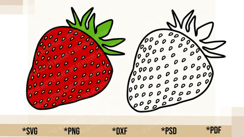 Strawberry SVG, Cricut Cut File, Strawberry PNG Printable, pdf, dxf, Strawberry Digital Download