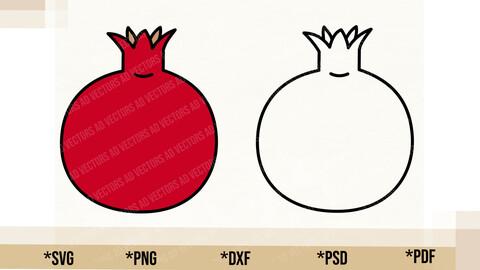 Pomegranate SVG, Pomegranate Cricut Cut File, Pomegranate PNG Printable, pdf, dxf, Pomegranate Digital Download