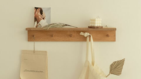 natural wood hook shelf