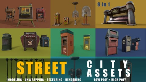 city street assets  game ready low poly and high poly 9 in 1