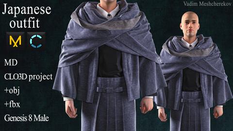 Japanese outfit Marvelous Designer / Clo 3D project +obj / fbx