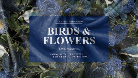 Birds Flowers Seamles Pattern