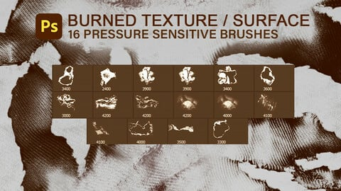 16 burned and torn cloth, synthetic material and paper surfaces, pressure sensitive photoshop brush set.