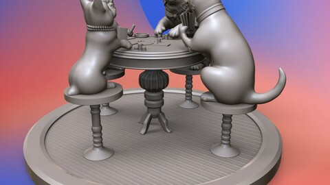 Dogs playing cards 3D print model