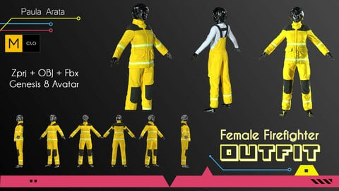 Female Firefigther Outfit CLO/Marvelous designer Project