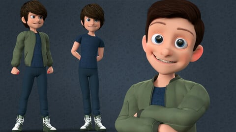 CARTOON RIGGED BOY - 3D CUTE TEENAGE BOY