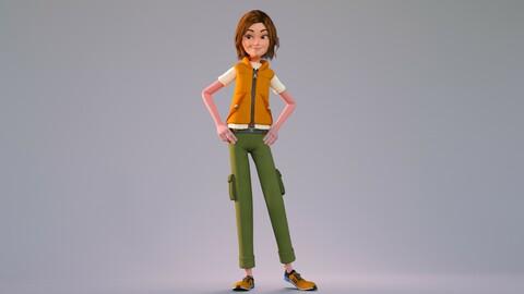 CARTOON RIGGED GIRL _ 3D CUTE COOL MODEL