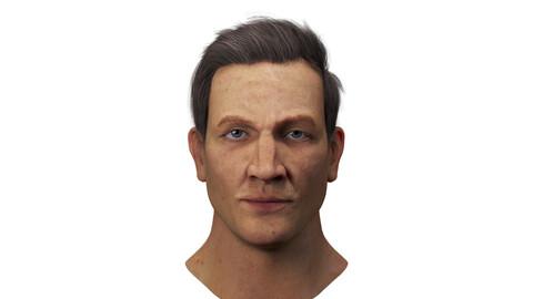 Realistic model of male head.