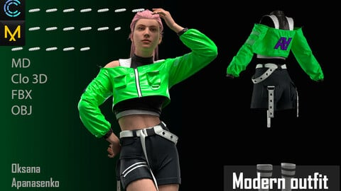 Modern outfit. Clo 3D/MD project + OBJ, FBX files