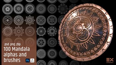 100 Mandala 3d brushes and alphas