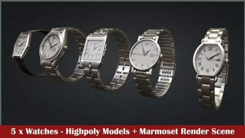 Five Watches Highpoly Models + Render Scene