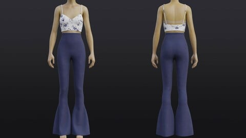 3D Cami top and Denim Bell Bottom pants set outfit