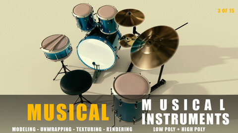 drums Musical instruments full detail low poly and high poly