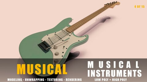 electric guitar Musical instruments full detail low poly and high poly