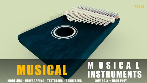 kalimba Musical instruments full detail low poly and high poly