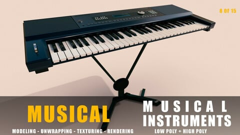 keyboard Musical instruments full detail low poly and high poly