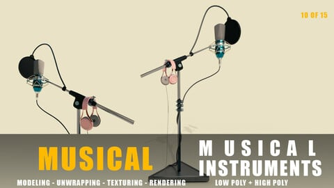 microphone Musical instruments full detail low poly and high poly