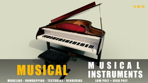 piano Musical instruments full detail low poly and high poly