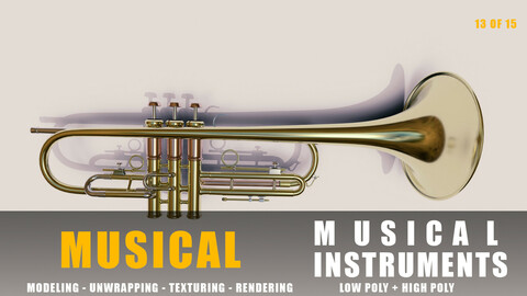 trumopet instruments full detail low poly and high poly