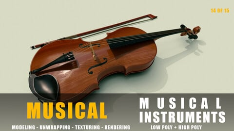 violin instruments full detail low poly and high poly