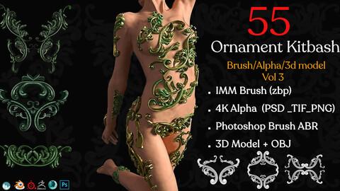 55 Ornament Brushes + 3D Model + IMM Brush Vol 03