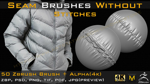 50 Seam Brushes Without Stitches (4k)+Alpha -Vol 01