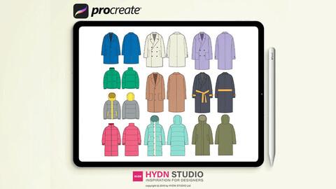 Coat Down Parka Jacket Set Procreate Stamp Brushes