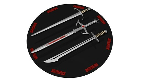 HQ and Low-poly Medieval 3 Swords