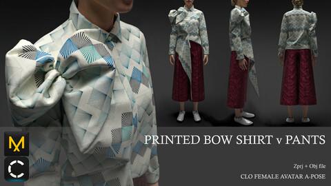 PRINTED BOW SHIRT v PANTS