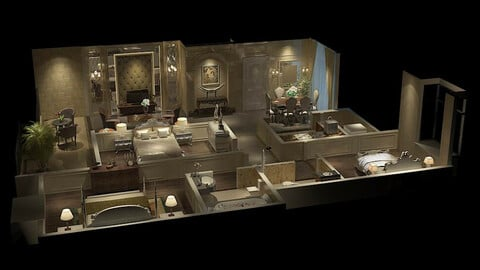 Modern fashion style interior living room -0525