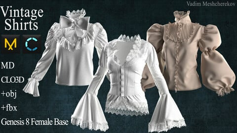 Vintage Shirts Marvelous Designer / Clo 3D project +obj / fbx