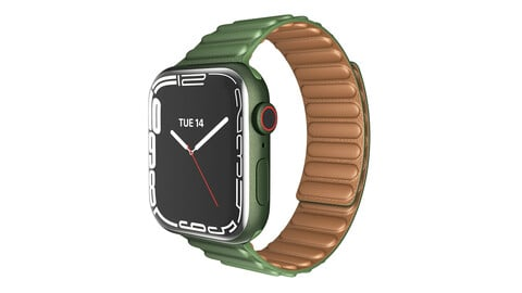 Apple Watch Series 7 45mm Green Aluminum Case with Green Leather Link