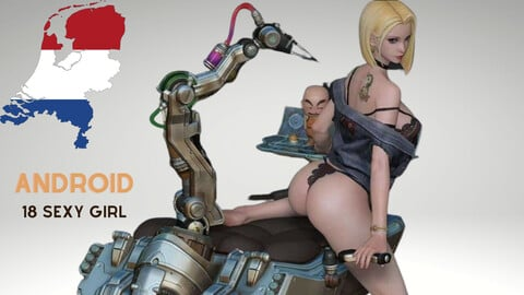 Android 18 Sexy Girl - 3D Printable Model - STL Printable