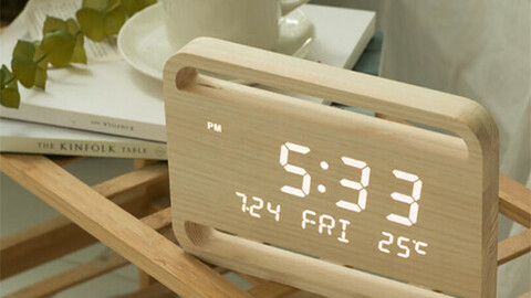 PLAYTO Wood Nature Interior LED Table Wall Clock 23 cm