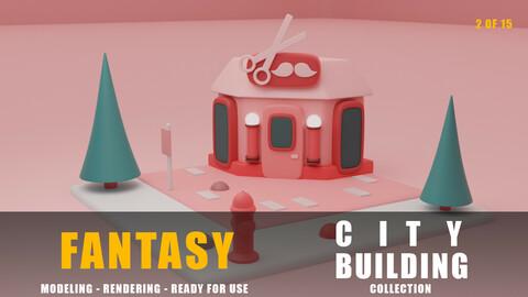 Barber fantasy building collection cartoon city