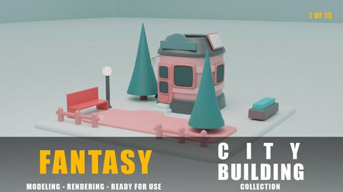 Library fantasy building collection cartoon city