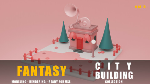Music store building collection cartoon city