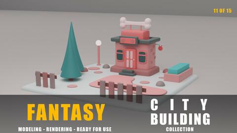Pet shop fantasy building collection cartoon city
