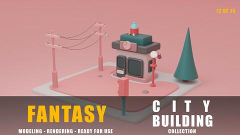 pharmacy fantasy building collection cartoon city