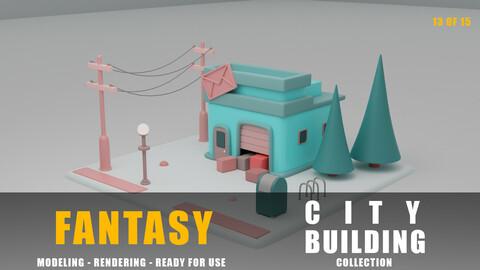 Post office fantasy building collection cartoon city