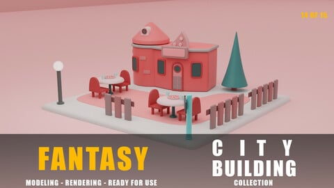 Restaurant fantasy building collection cartoon city
