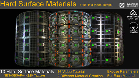 10 Hard Surface Material + 10 Hours Video Tutorial