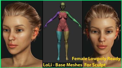 Female LoLi - Lowpoly - Base Meshes