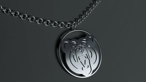 Bear Head Round Pendant Jewelry Stainless Steel Necklace