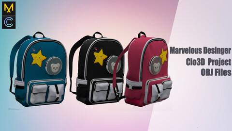 Children's backpack № 2 Marvelous Desinger/Clo3D Project+OBJ File